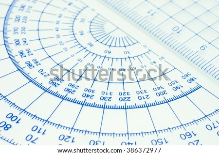 Geometry ruler with close up view - stock photo