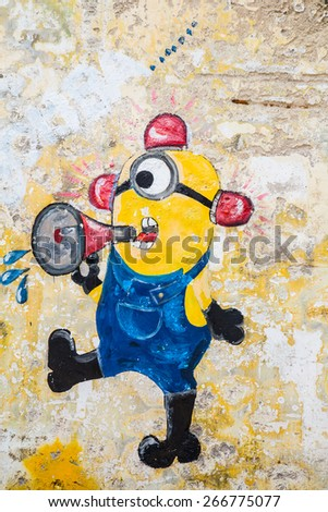 GEORGE TOWN,PENANG ,MALAYSIA- CIRCA March 26, 2015: Public street art Name Minion on the wall by Local Artist in Georgetown, Penang, Malaysia. - stock photo