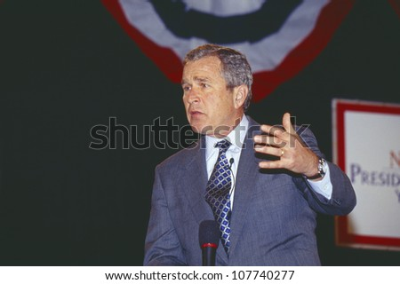 George W. Bush addressing the New Hampshire Presidential Candidates Youth Forum, Manchester, NH January 2000 - stock photo