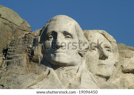 George Washington and Thomas Jefferson at Mount Rushmore National Memorial, South Dakota, USA - stock photo