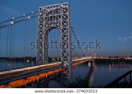 George Washington bridge at dusk - stock photo
