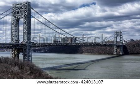 George Washington Bridge - Bridging NY and NJ - Seen from Hudson Heights in Manhattan. - stock photo