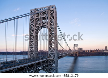 George Washington Bridge looking from below - stock photo