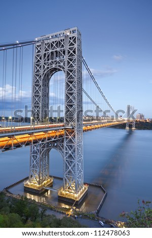 George Washington Bridge, New York. Image of George Washington Bridge at Twilight. - stock photo