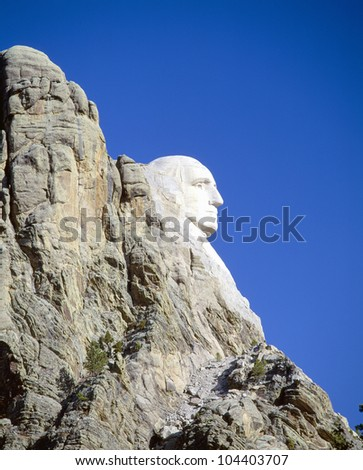 George Washington on Mount Rushmore, South Dakota - stock photo