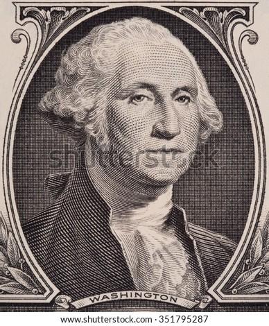 George Washington portrait on the us one dollar bill macro, united states money closeup - stock photo