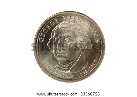 George Washington Presidential Dollar coin with clipping path. - stock photo