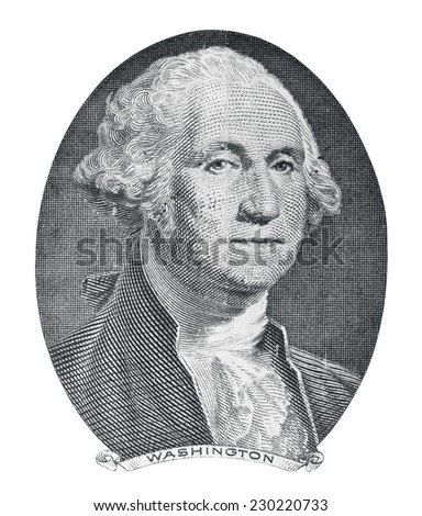 George Washington. Qualitative portrait from 1 dollars banknote in white background - stock photo
