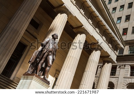 George Washington Statue at Federal Hall, Wall Street, New York City. - stock photo
