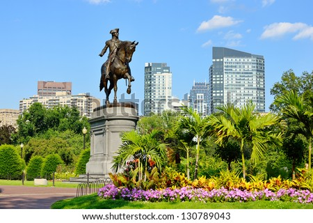 George Washington Statue in Boston Public Garden - stock photo