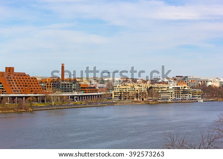 Georgetown Park and Potomac Waterfront panorama in Washington DC, USA. Georgetown suburb area near Potomac River on a spring day. - stock photo