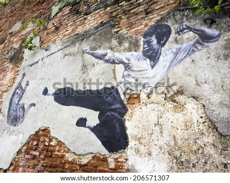 """Georgetown, Penang, Malaysia - April 24, 2014: """"The Real Bruce Lee Would Never Do This"""" street art mural by ASA (Artists for Stray Animals) in George Town, Penang, Malaysia.  - stock photo"""