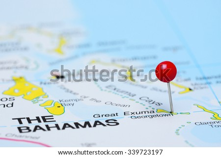 Georgetown pinned on a map of America  - stock photo