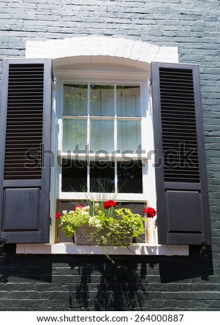 Georgetown townhouses facades window detail Washington DC in USA - stock photo