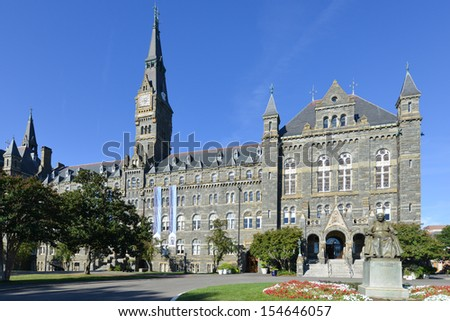 Georgetown University main building in Washington DC - United States - stock photo