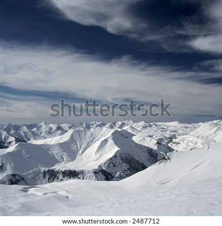 Georgia, Guadauri, High Snow Mountains - stock photo