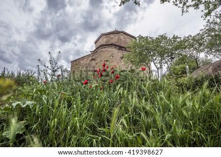 "Georgia, Jvari (literally ""cross"" ) - Georgian monastery and temple of VII century , is located on top of the mountain at the confluence of the Kura and Aragvi near Mtskheta . - stock photo"