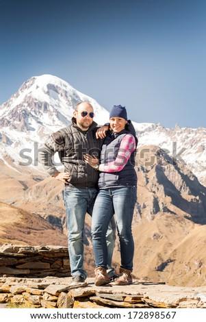 Georgia, Kazbek, mountain, people, mountain climbers, hikers - stock photo