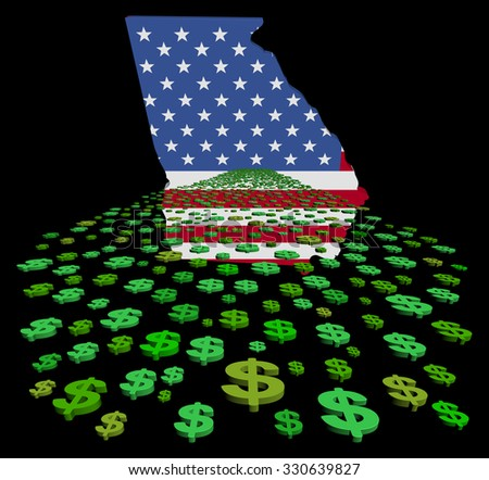 Georgia map flag with abstract dollars illustration - stock photo