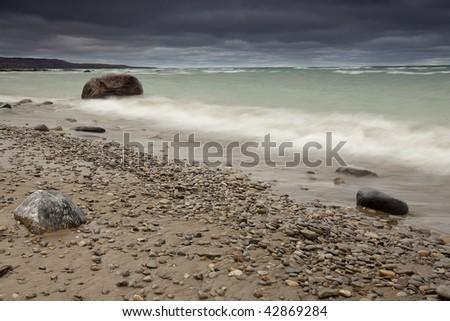 Georgian Bay Beach before a storm. - stock photo