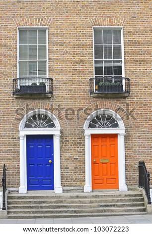 Georgian doors - stock photo