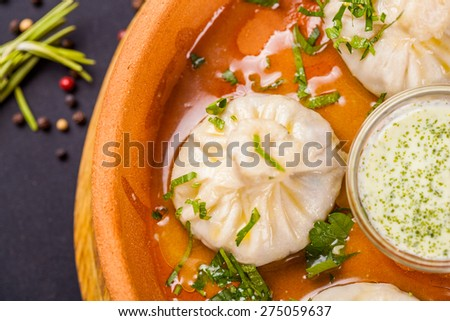 Georgian khinkali stuffed with meat - stock photo