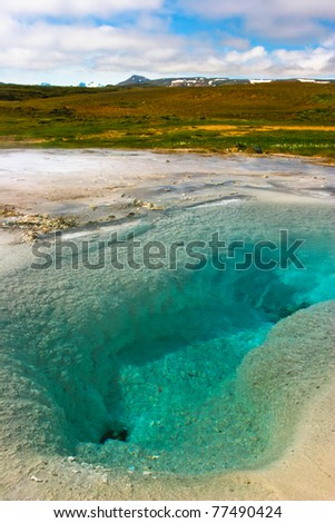 Geothermal activity with hot springs, Iceland - stock photo