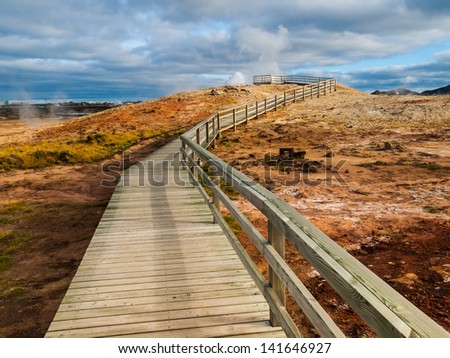 Geothermal area near Keflavik - stock photo