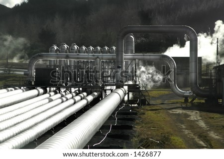 Geothermal Pipes - stock photo