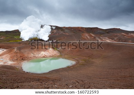 Geothermal plant near Viti crater in Krafla, North Iceland - stock photo