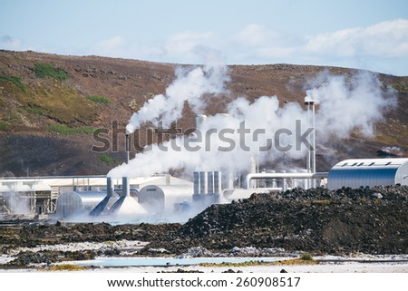Geothermal power plant in Iceland. Blue Lagoon - stock photo