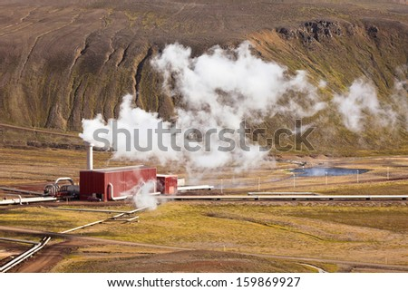 Geothermal Power Station in Iceland. Horizontal shot - stock photo