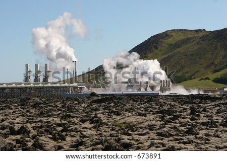 Geothermal powerstation - stock photo