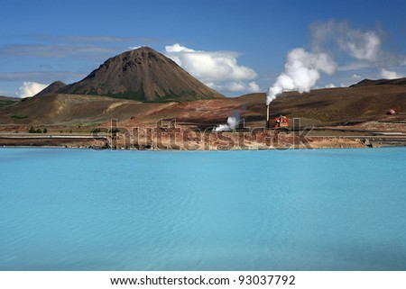 Geothermal production at Bjarnarflag, Iceland - stock photo