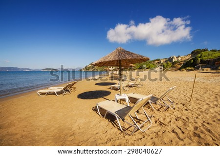 Gerakas beach (protected Caretta Caretta turtle nesting site) on Zakynthos island, Greece - stock photo