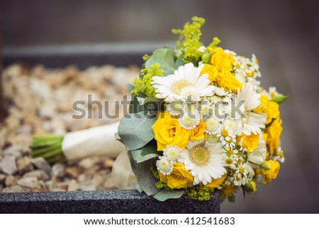 Gerbera and yellow spray roses wedding bouquet. Wedding flowers. - stock photo