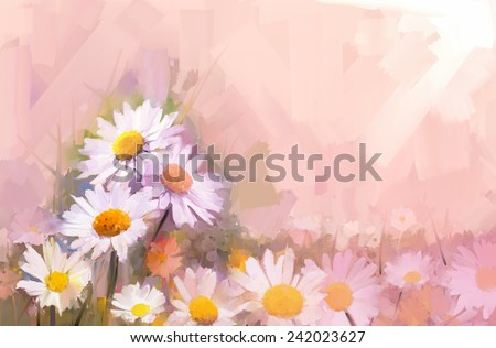 Gerbera flower.Abstract flower oil painting - stock photo