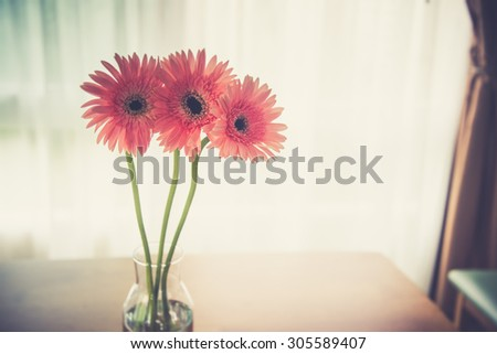 Gerbera on wooden table in room (Vintage filter effect used) - stock photo