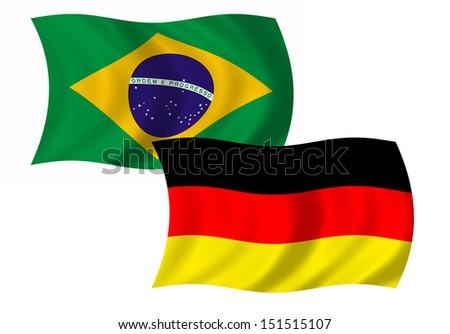 German and brazilian flag - stock photo