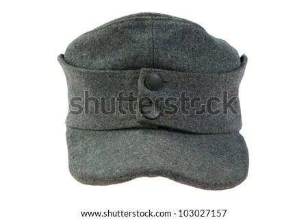 German Army field cap World War II period isolated on a white background - stock photo
