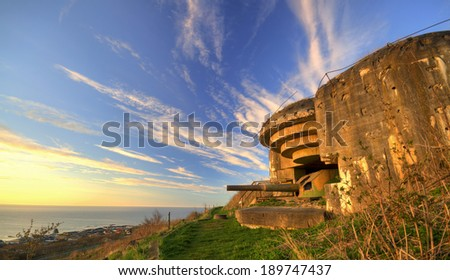 German bunker from the Second World War on the top of the hill with a view on the Baltic Sea - stock photo