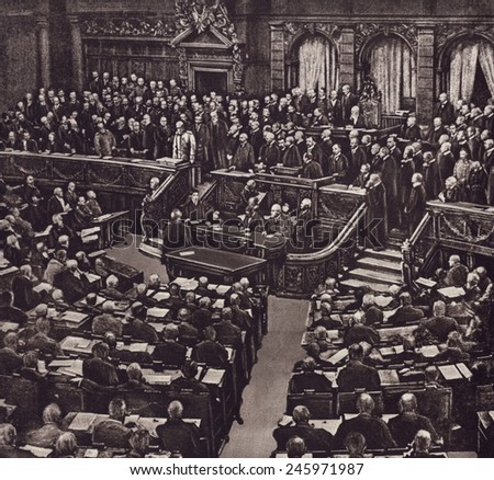 German Chancellor, von Bethmann Hollweg, addressing the Reichstag during the crisis of July 1914, when the Central Powers (Austria-Hungary) and the Triple Entente stumbled into WWI. - stock photo