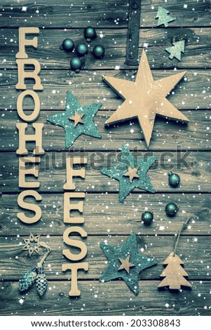 "German Christmas card with text ""Frohes Fest"" means Merry Christmas. - stock photo"