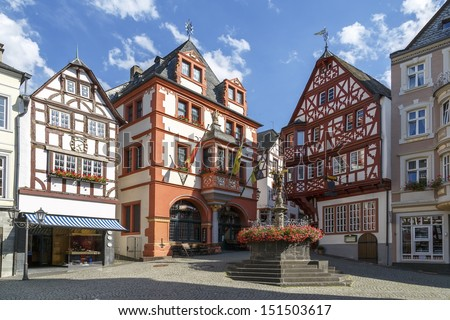 german church located high above the mosel river near bernkastel-kues germany.  - stock photo
