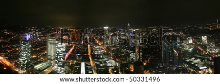 German city Frankfurt with financial district Westend at night - stock photo