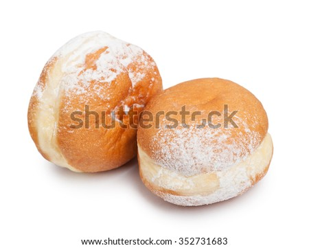 German doughnut berliner with icing sugar isolated - stock photo
