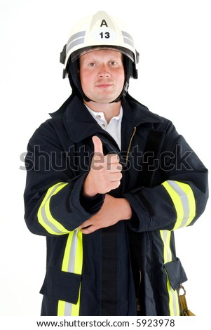 german firefighter - stock photo