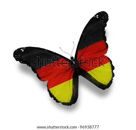 German flag butterfly, isolated on white - stock photo