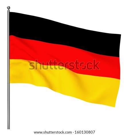 German flag. 3d illustration on white background  - stock photo