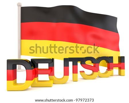 German flag with deutsch word. 3D render - stock photo